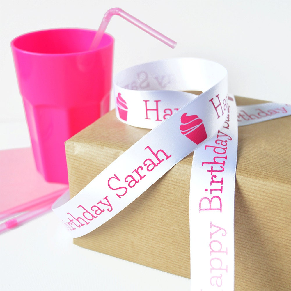 Birthday 25mm Personalised Printed Ribbon Birthday Gift Wrap