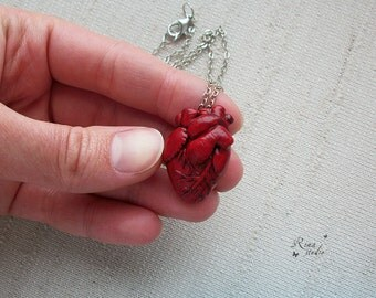 Anatomical Heart Necklace, Anatomical Human Heart Pendant, Anatomical Art, Halloween Jewelry, Polymer Clay