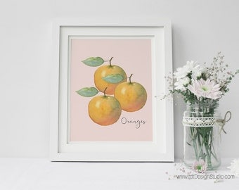 Kitchen Wall Print Blush Background , Oranges Print, Home Decor, Printable Wall Art, Cadre, Gift Ideas, Housewarming Gift, Birthday, DT258