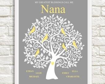 Nana Family Tree with Grandchildren's Names, Gift for Nana, Personalized Gift for Nana, Christmas Gift, Gift from Grandchildren,