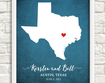 Texas Couple's State Map, Custom Couple's State Map, Wedding print, Texas, Anniversary Gift, Bridal Shower Gift,Housewarming Gift