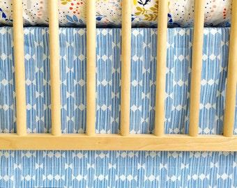 Organic Panel Crib Skirt in Lore Anecdote in Blue - MADE-to-ORDER -- blue crib skirt, diamond crib skirt, gender neutral crib, triangle
