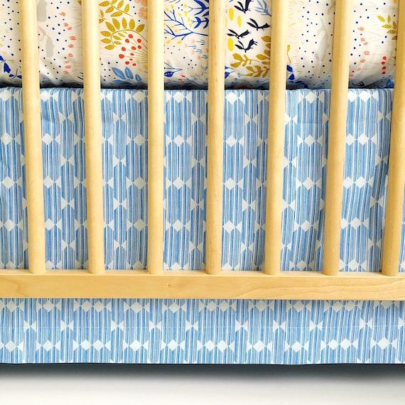 Organic Panel Crib Skirt - 'Lore' Anecdote in Blue - READY-to-SHIP