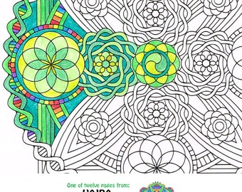 mandala coloring page life vajra instant download sacred geometry art to print and color - Sacred Geometry Coloring Book
