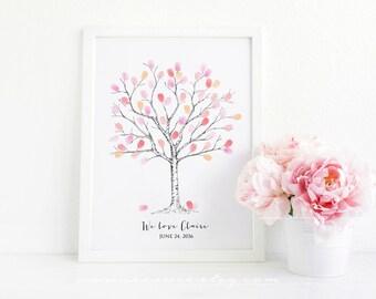 Fingerprint tree guestbook - thumbprint tree guest book, Baby shower, Birthday, Family tree, custom alternative digital file printable - DIY