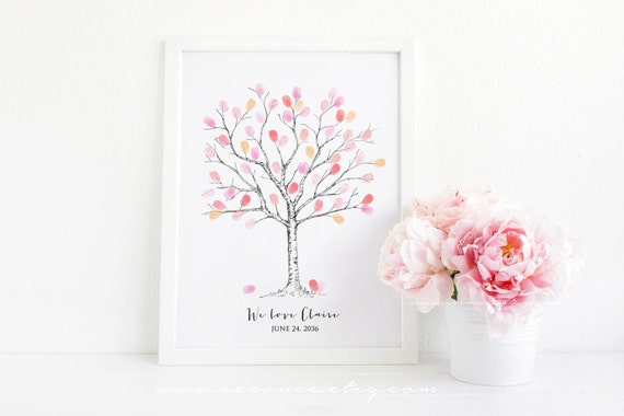 fingerprint tree guestbook thumbprint tree guest book baby shower