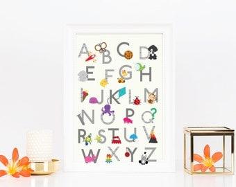 Alphabet poster, ABC poster, Alphabet letters print, gender neutral nursery decor, alphabet art, ABC print, kids wall art, digital file.