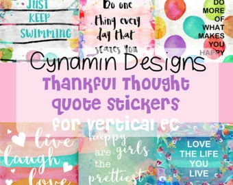 EC 'Thankful Thought' Box Planner Stickers - great for planning in your Vertical Erin Condren Life Planner - inspirational life love quotes