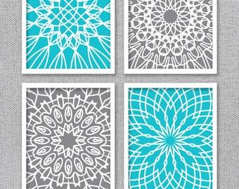 PRINTABLE Art, Wall Art Prints, Wall Art Set, Turquoise Art, Gray Art, Gray Wall Art, Digital Art Prints, Set of 4 Prints, Bedroom Wall Art
