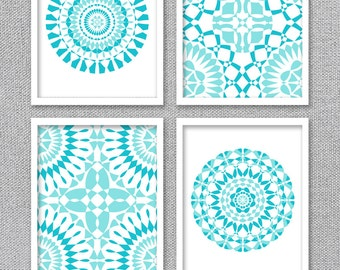 Wall Art, Printable Art, INSTANT DOWNLOAD Art, Printable Art Set, Turquoise Wall Art, Bathroom Art, Bedroom Art, Mandala Art, Digital Prints