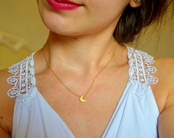 Gold moon necklace, Moon necklace gold, Crescent moon gold, Tiny moon necklace, Minimalist necklace, Dainty moon necklace, Galaxy necklace