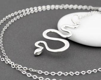 Sterling Silver Snake Necklace, Snake Jewelry, Snake Pendant, Cobra Necklace, Serpent Necklace, Rattlesnake Necklace, Snake Jewlery, Reptile