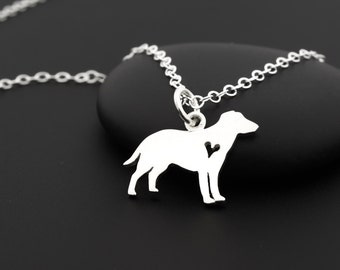 Labrador Necklace with Heart, Labrador Retriever, Sterling Silver, Labrador Jewelry, Labrador Gifts, Dog Lover Jewelry, Lab Necklace
