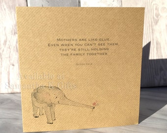 "Mum/Mother Baby Elephant Birthday card - Kraft card - Personalised, with quote 6""x6"""