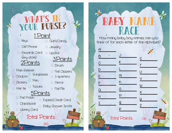 Gone fishing themed baby shower game pack instant download for Fishing themed baby shower