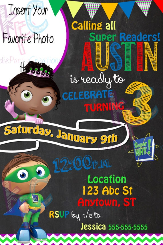 Super Why 4x6 Birthday Party Chalkboard by ...