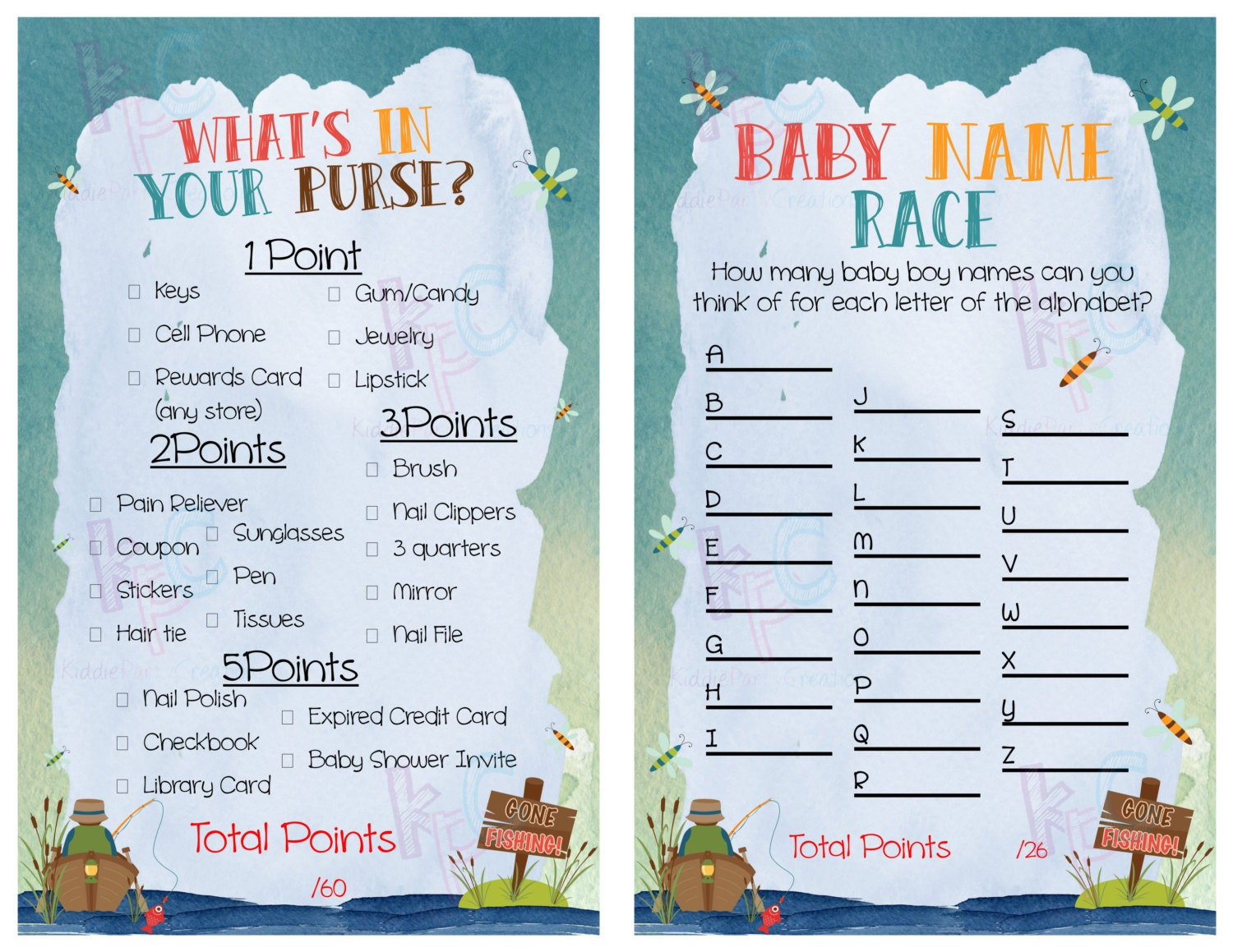 Gone fishing themed baby shower game pack instant download for Toddler fishing game free
