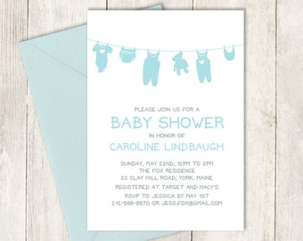 Blue Baby Shower Invitation DIY / It's a Boy Baby Shower / Blue Clothes, Clothesline, Onesie / Blue and Gray ▷ Baby Shower Invite Printable