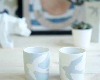 Cups coffee, grey, swallow, lot 2, hand-painted, porcelain