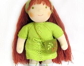 """13"""" (33 cm) Waldorf doll. Steiner doll-cloth doll-handmade doll-soft doll-waldorfpuppe-rag doll-birthday gift- organic doll"""