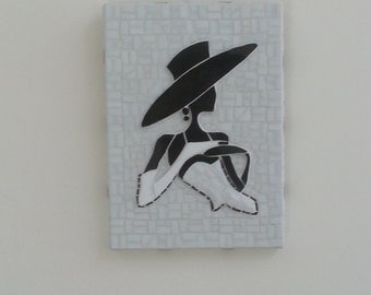 Black and White Mosaic Wall Art: Bas Relief Silhouette