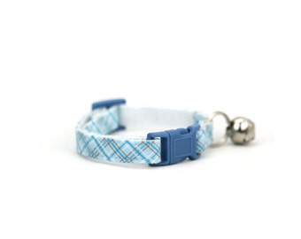 Baby Blue Plaid Cat Collar with Breakaway Safety Buckle Boy Girl Light Blue Cat Collar with Bell