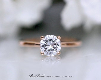 1.0 ct Solitaire Engagement Ring-Brilliant Cut Diamond Simulant-Bridal Ring-Wedding Ring-Rose Gold Plated-Solid Sterling Silver [3313RG]
