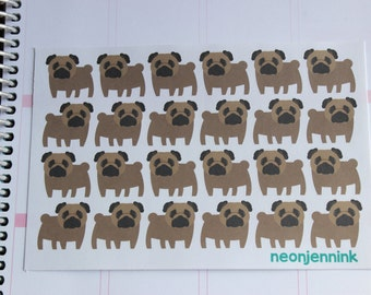 Fawn Pug Stickers