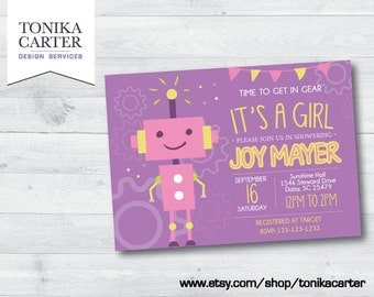 Robot Baby Shower Invitation (girl)
