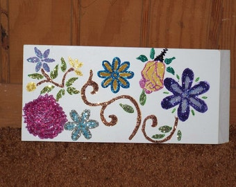 Wood art, stenciled,  painted flowers, acrylic paint, glittered, sparkles