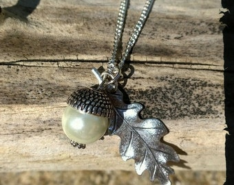 Pearl Acorn with Silver Leaf