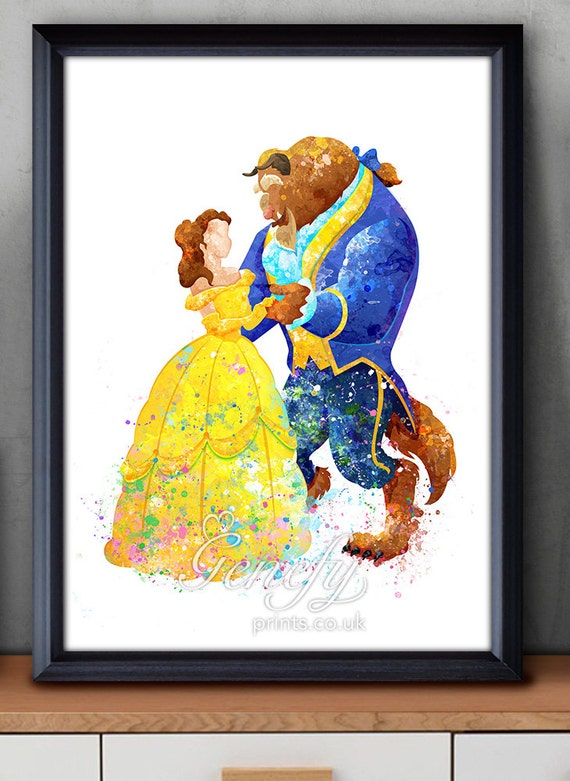 Disney Princess Belle Beauty And The Beast Watercolor Poster