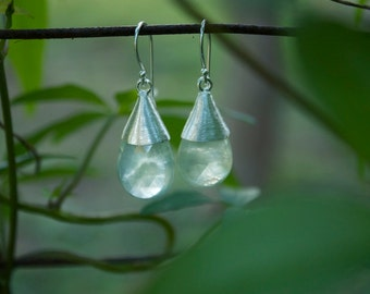 Faceted Teadrop Prehnite Earrings with Brushed Cap Setting in Sterling Silver
