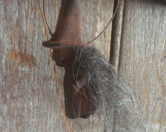 Blackened Beeswax Witch Ornament//llama wool//primitive gift//halloween