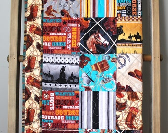 Baby Boy Quilt-Rodeo Nursery Bedding- Cowboy Quilt- Boy Toddler Quilt- Cowboy Horseshoe Rodeo Texas- Cowboy Baby Quilt- Homemade Baby Quilt