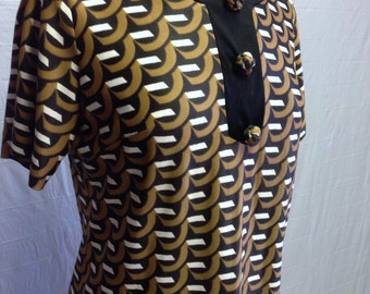 Brown Patterned Vintage 1960s Dress