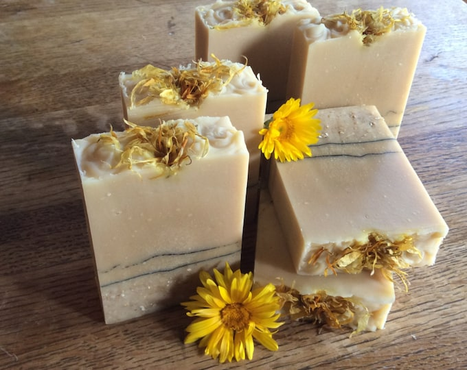 Featured listing image: CHAMOMILE and CALENDULA GOATMILK Soap ...With Oatmeal and Honey, great for acne, blemishes, irritated skin, improve complexion