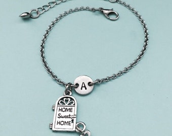 Home sweet home charm bracelet, home sweet home charm, adjustable bracelet, home, personalized bracelet, initial bracelet, monogram