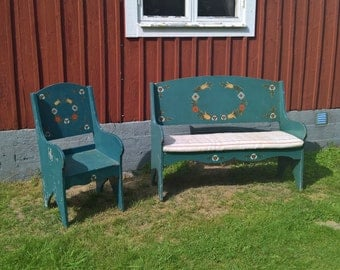 Swedish bench swedish chair swedish folk dalarna chair dala chair dalarna bench dala bench antique bench antique chair scandinavia paint