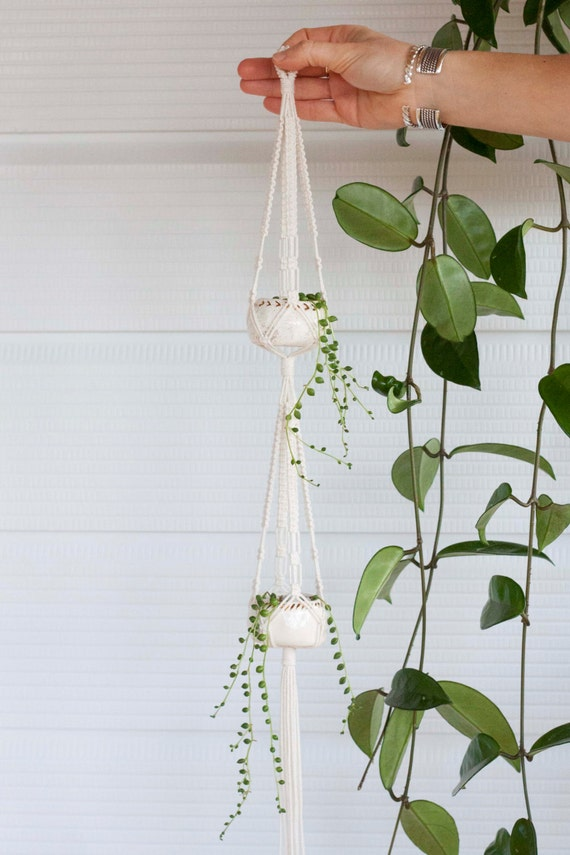 Mini Double Macrame Plant Hanger Ceramic Pot Set Natural