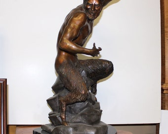"Ricardo Ponzanelli ""The Satyr"" Bronze Sculpture 22""H Signed Casting - ART10016"