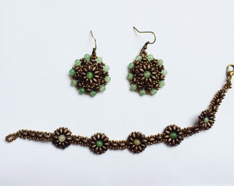 Flower jewelry set - Flower bracelet and earrings - Bead bracelet - Beaded jewelry set - Fashion jewelry - Floral earrings - Flower jewelry