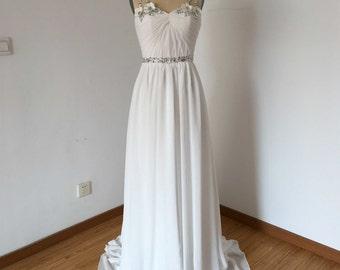 Long Prom Dress, Prom Dress 2016, Spaghetti Straps Prom Dress, Ivory Prom Dress, Chiffon Prom Dress, Silver Beaded Prom Dress