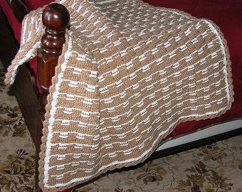 Baby Crib Blanket, Basket Weave Blanket, Crochet Blanket, Carriage Blanket, Baby Wrap, Security Blanket, Crochet Baby Blanket