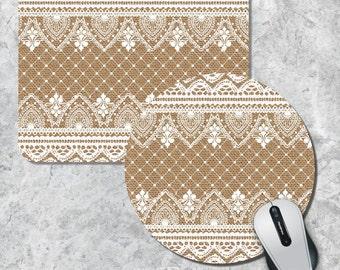 Burlap Lace Mousepad, White Lace Mouse Pad, Art Mouse Mat, Geometric Mousepad, Custom Mousepad, Round Mouse Pad, Burlap Background Mouse Pad