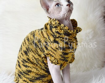 Cat clothes warm cat sweater knitted cat sweater handmade - Knitted cat sweater pattern ...