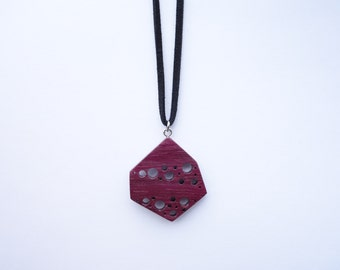 TERRILL TACTILE Geometric Starry Sky Purple Heart Necklace