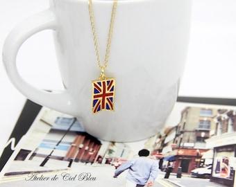 UK Flag Necklace, United Kingdom Flag Necklace, British Flag Necklace, UK Flag Charm, British Flag Pendant, British Flag Charm, Flag Jewelry