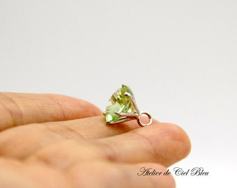 August Birthstone Ring Charm Necklace, Peridot Ring Charm Necklace, Tiny Ring Charm Necklace, Silver Ring Charm Necklace, Perdiot Necklace