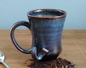 Unique Blue Curved Handle Mug, Handmade Ceramic, Ready to Ship